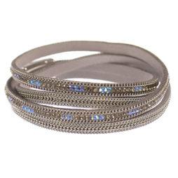 Hot Tomato Jewellery Double Wrap Silver Shimmer Bracelet