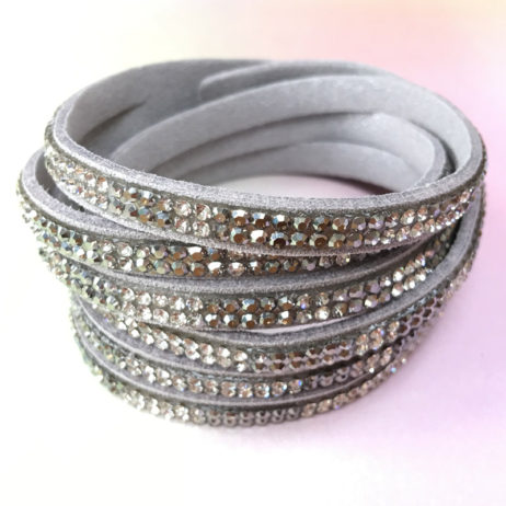 Hot Tomato Jewellery Double Wrap Silver Grey Sparkle Bracelet