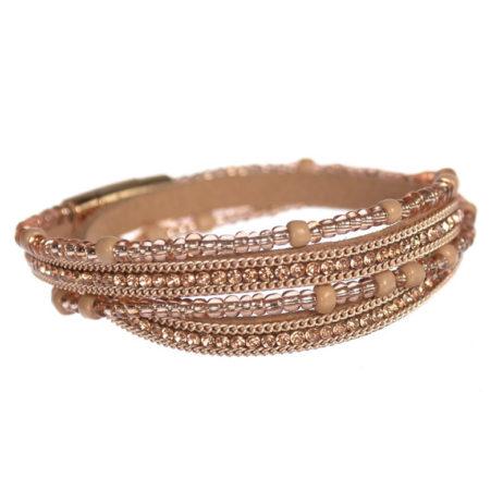 Hot Tomato Jewellery Multi Wrap Golden Bracelet