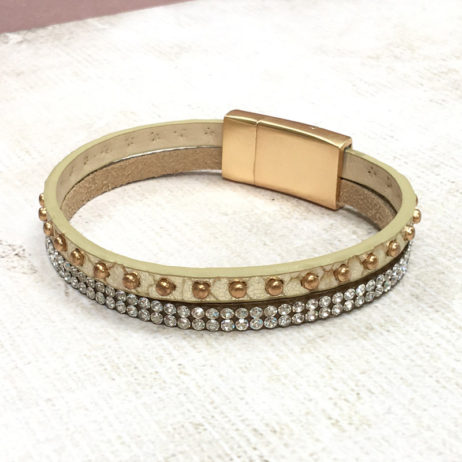 Hot Tomato Jewellery Gold Rivets and Crystals Wrap Bracelet