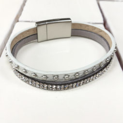 Hot Tomato Jewellery Silver Rivets and Crystals Wrap Bracelet