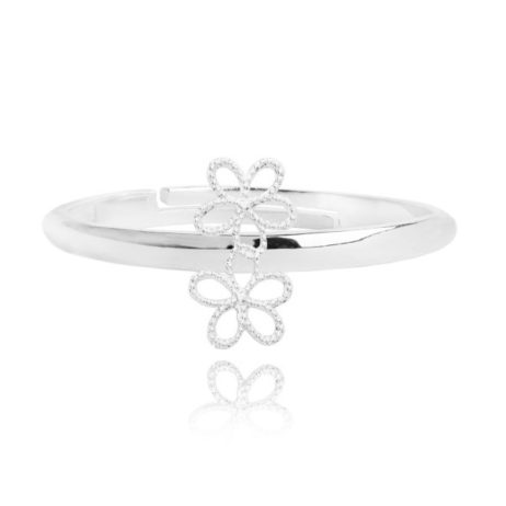 Joma Jewellery Silver Ditzy Daisy Adjustable Ring