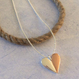 Joma Jewellery VALENTINA Silver and Rose Gold Heart Necklace