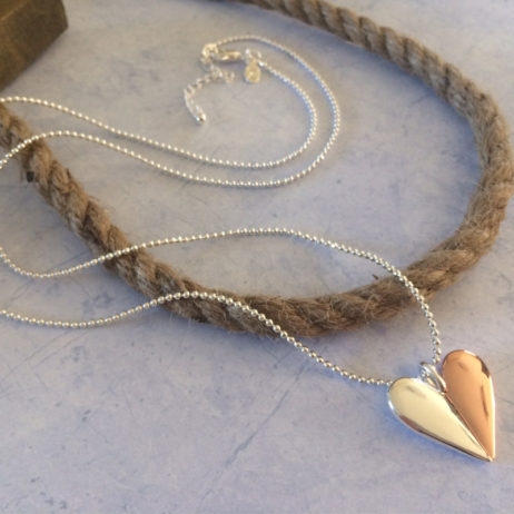 Joma Jewellery VALENTINA Silver and Rose Gold Heart Necklace 1964