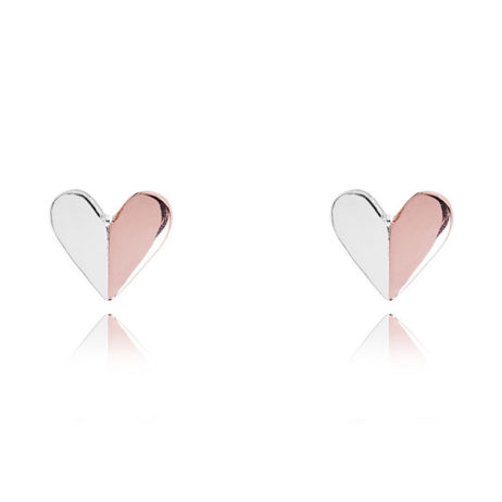Joma Jewellery VALENTINA Silver and Rose Gold Heart Earrings