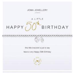 Joma Jewellery a little HAPPY 50th BIRTHDAY Silver Bracelet