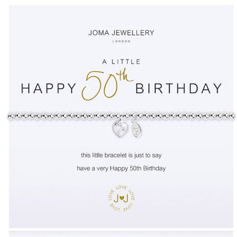 Joma Jewellery a little HAPPY 50th BIRTHDAY Silver Bracelet 2074