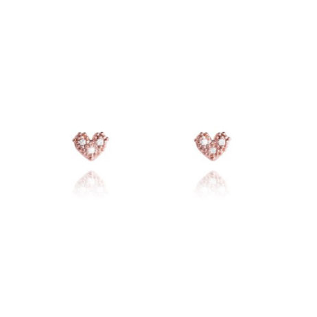 Joma Jewellery Pave Crystal Rose Gold Heart LILOU Earrings