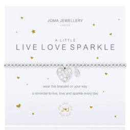 Joma Jewellery a little LIVE LOVE SPARKLE Silver Bracelet