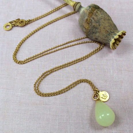 Sence Copenhagen Gold Aloha Necklace with Jade Pendant
