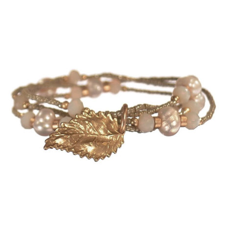 Hot Tomato Jewellery Multi Stand Pearl Bracelet with Gold Leaf Charm - EOL