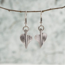 Danon Jewellery Mini Leaf of Love Drop Silver Earrings