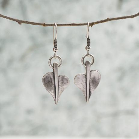 Danon Jewellery Mini Leaf of Love Drop Silver Earrings