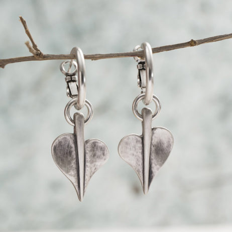 Danon Jewellery Silver Mini Leaf of Love Hoop Earrings