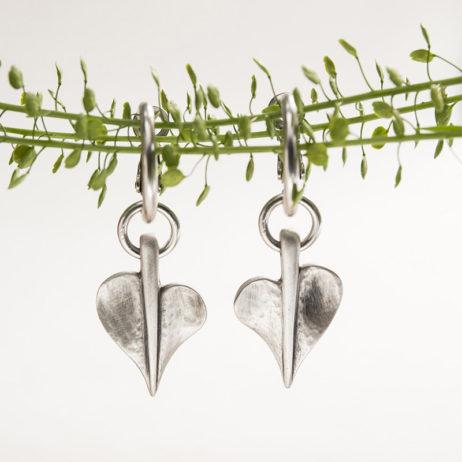 Danon Jewellery Silver Mini Leaf of Love Hoop Earrings