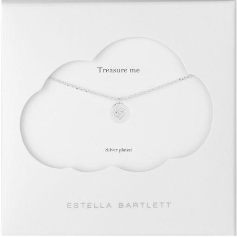 Estella Bartlett CZ Heart Disc Silver Necklace