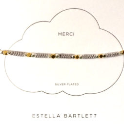 Estella Bartlett Silver and Gold Plated Grey Cord Friendship Bracelet