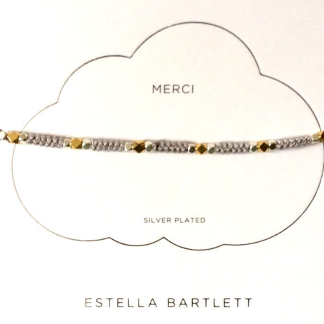 Estella Bartlett Silver and Gold Plated Grey Cord Friendship Bracelet - EOL