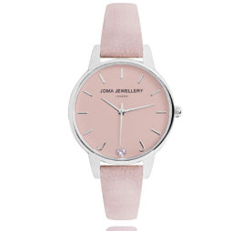 Joma Jewellery Ava Blush Leather Silver Watch