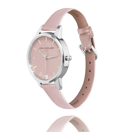 Joma Jewellery Ava Blush Leather Silver Watch JJW006
