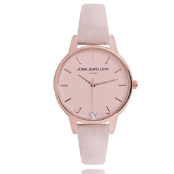 Joma Jewellery Ava Blush Leather Rose Gold Watch JJW008