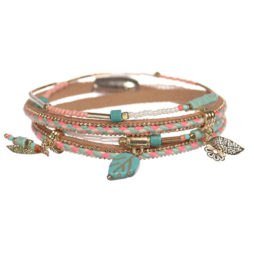 Hot Tomato Jewellery Summer Loving Wrap Bracelet Neon Pink and Aqua