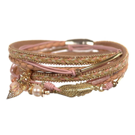 Hot Tomato Jewellery Treasure Trove Wrap Bracelet Pink and Gold - EOL