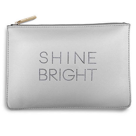 Katie Loxton Shine Bright Polka Pouch Pale Grey