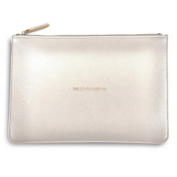 Katie Loxton Metallic White Hello Gorgeous Perfect Pouch
