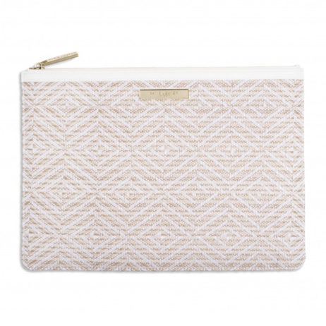 Katie Loxton White Zahara Straw Clutch Bag
