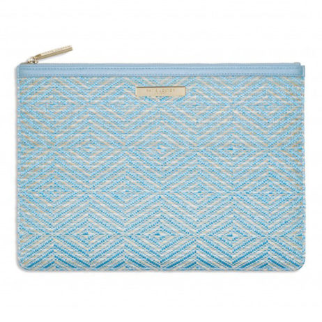 Katie Loxton Turquoise Straw Clutch Bag
