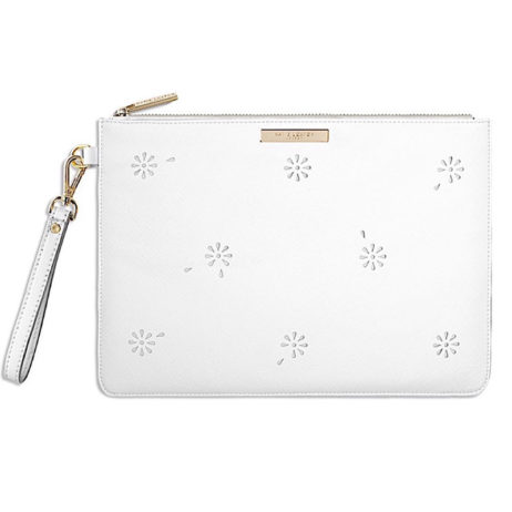 Katie Loxton Beautiful Blossom Large White Pouch Clutch Bag
