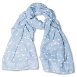 Katie Loxton Love Love Love Scarf Pale Blue