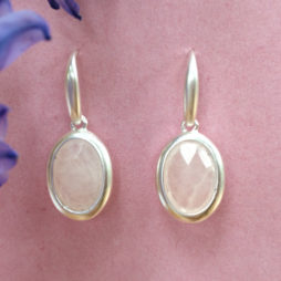 Sence Copenhagen Rose Quartz Blue Moon Silver Drop Earrings