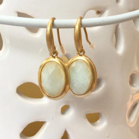 Sence Copenhagen Aquamarine Blue Moon Gold Drop Earrings