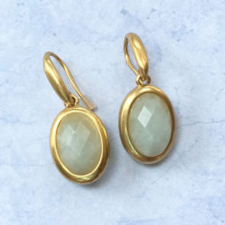 Sence Copenhagen Aquamarine Blue Moon Gold Drop Earrings