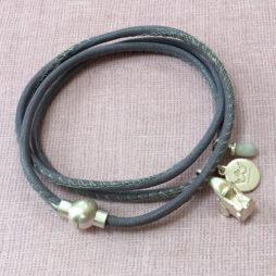 Sence Copenhagen Nappa Leather Wrap Bracelet with Aquamarine and Silver Elephant Charm