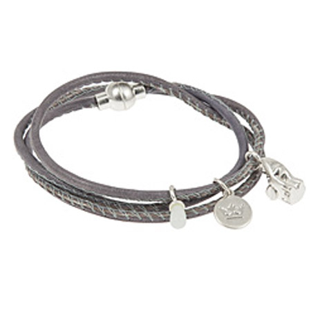 Sence Copenhagen Nappa Leather Wrap Bracelet with Aquamarine and Silver Elephant Charm