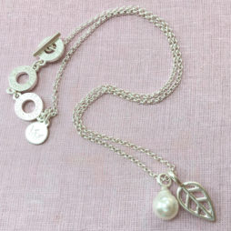 Sence Copenhagen Silver Leaf Mother Of Pearl Necklace