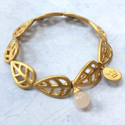 Sence Copenhagen Gold Leaf with Rose Aventurine Bracelet