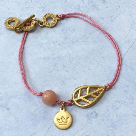 Sence Copenhagen Gold Leaf Rose Aventurine Bracelet with Pink Cord