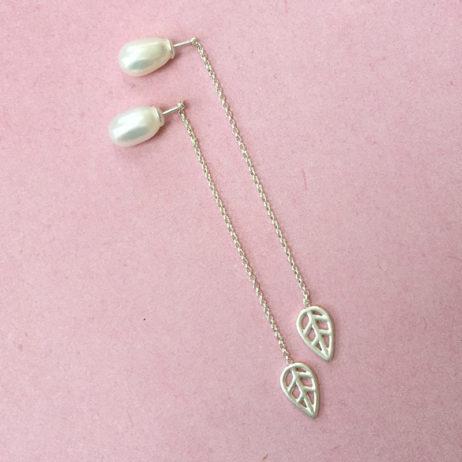 Sence Copenhagen Silver Leaf Freshwater Pearl Drop Earrings