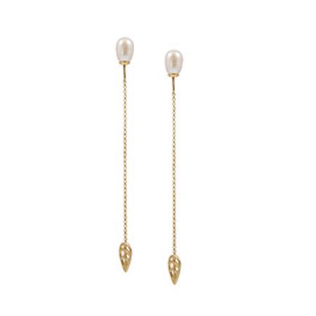 Sence Copenhagen Gold Leaf Freshwater Pearl Drop Earrings