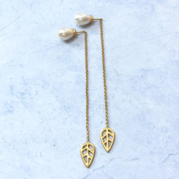 Sence Copenhagen Gold Leaf Freshwater Pearl Drop Earrings