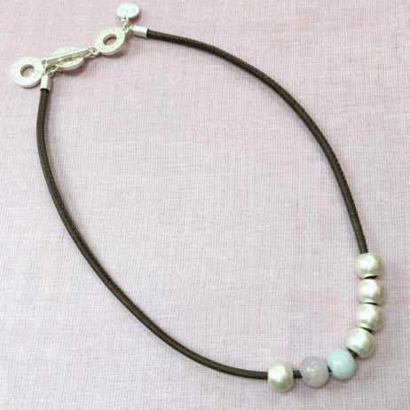 Sence Copenhagen Silver Lagoon Leather Necklace with Rose Quartz and Aquamarine