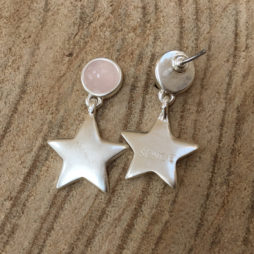 Sence Copenhagen Silver Lagoon Earrings with Rose Quartz
