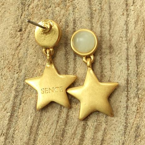 Sence Copenhagen Gold Lagoon Earrings with Aquamarine