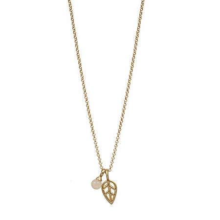 Sence Copenhagen Gold Leaf Rose Aventurine Necklace