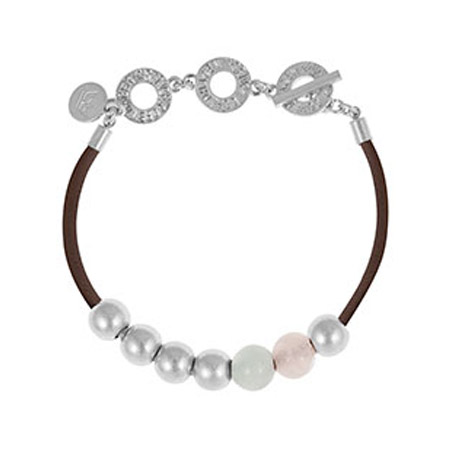 Sence Copenhagen Silver Lagoon Leather Bracelet with Rose Quartz and Aquamarine