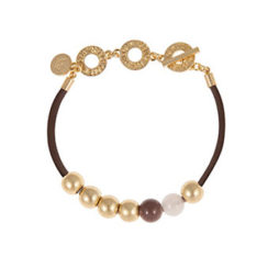 Sence Copenhagen Gold Lagoon Leather Bracelet with Rose Quartz and Purple Aventurine
